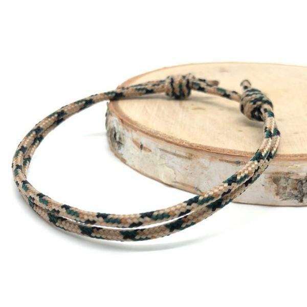 Bracelet nautique marin porte-bonheur en paracorde de nylon beige et kaki