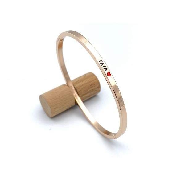 Tata - gravure noire, Bracelet jonc à message en acier inoxydable