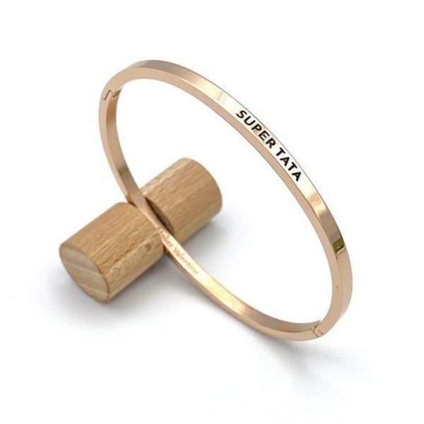 "Future Tata, annonce ""super tata"", cadeau original, annonce grossesse, bracelet jonc, bracelet super tata, jonc fermé"