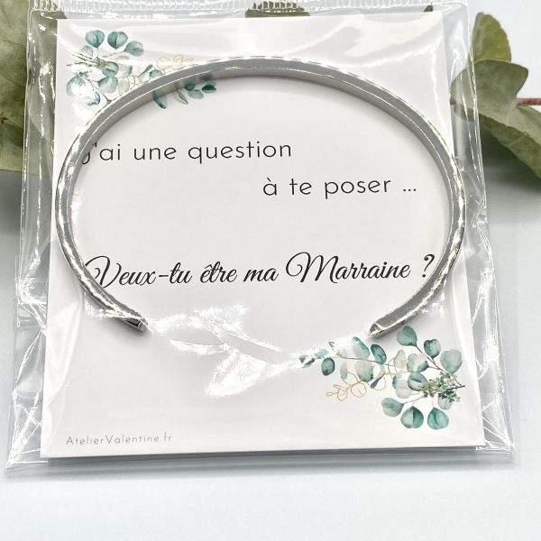 """Veux tu être ma Marraine ? - Bracelet jonc """" Marraine ❤️"""" cadeau original Marraine, demande marraine, jonc ouvert"""