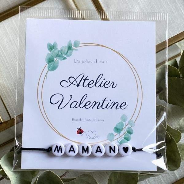 Maman - Bracelet perle N&B cordon ajustable