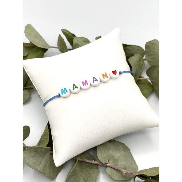 Maman - Bracelet perles couleurs cordon ajustable