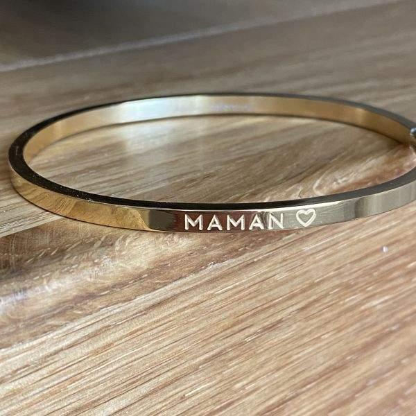 Maman ♡ Bracelet jonc à message en acier inoxydable