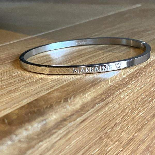Marraine ♡, Bracelet jonc à message en acier inoxydable