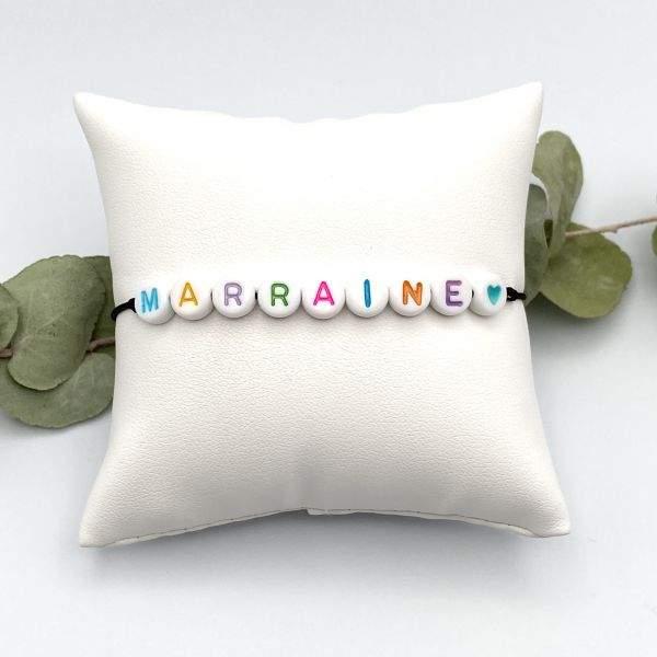 Bracelet message perles couleurs cordon ajustable