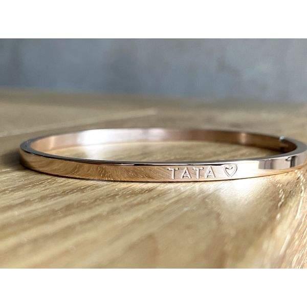Tata ♡- Bracelet jonc à message en acier inoxydable, hypoallergénique