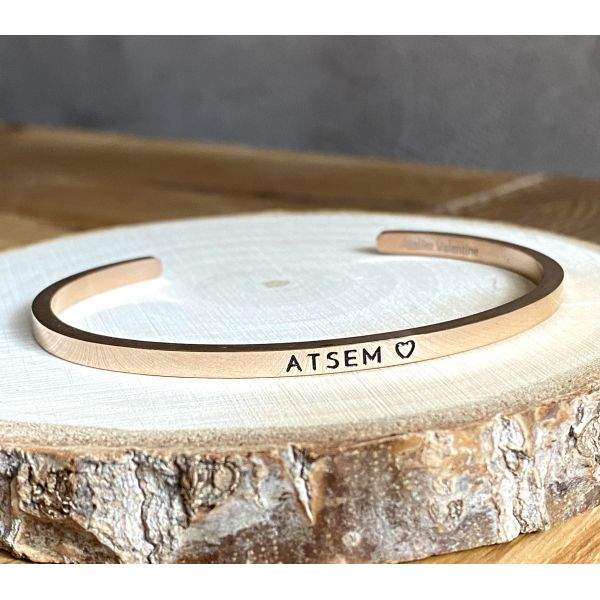 ATSEM ♡, Gravure noire, Bracelet jonc ajustable à message en acier inoxydable