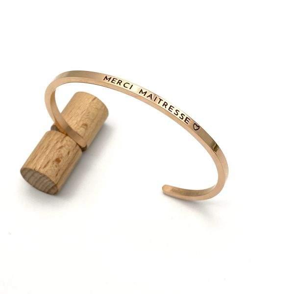 MERCI MAITRESSE ♡, Gravure noire, Bracelet jonc ajustable à message en acier inoxydable