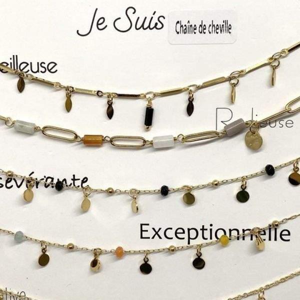 """Bracelet cheville Milë Mila modèle """"Exceptionnelle"""" en acier inoxydable"""