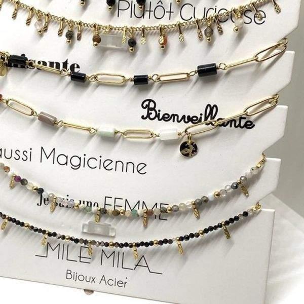 """Bracelet cheville Milë Mila modèle """"Bienveillante"""" en acier inoxydable"""