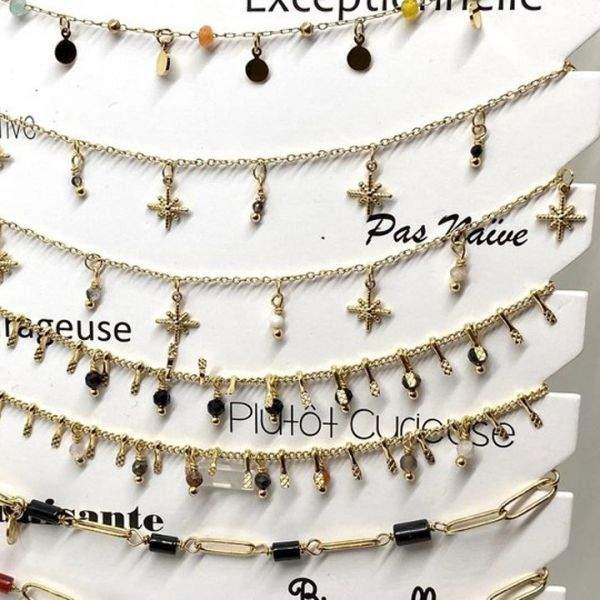 """Bracelet cheville Milë Mila modèle """"Plutôt curieuse"""" en acier inoxydable"""