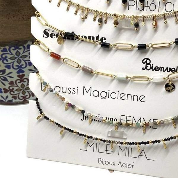 """Bracelet cheville Milë Mila modèle """"Séduisante"""" en acier inoxydable"""