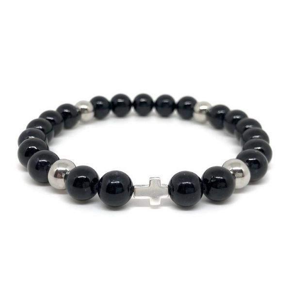 Bracelet élastique perles en verre noir, acier inoxydable et croix en argent massif