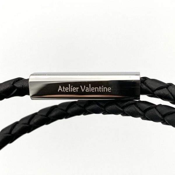 Papa ♡ - Bracelet cordon à message cuir tressé noir double tour