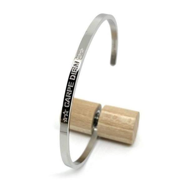 Carpe Diem - Bracelet jonc ajustable à message en acier inoxydable