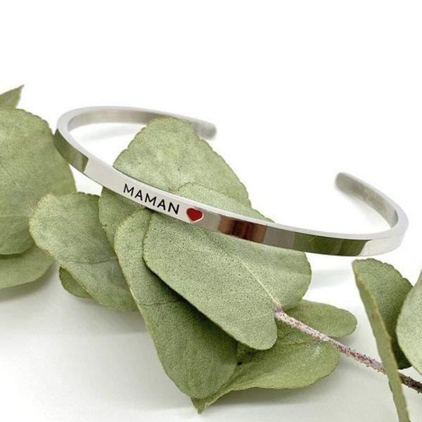 Maman ❤️ - Bracelet jonc ajustable à message en acier inoxydable gravure noire