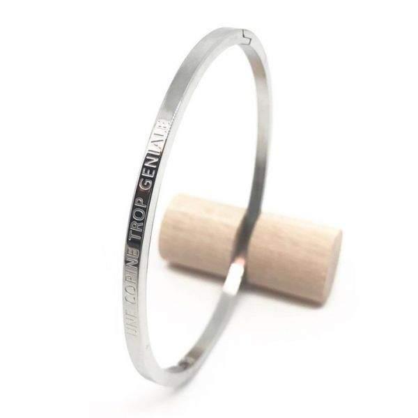 """Bracelet jonc à message """"Une copine trop géniale"""" en acier inoxydable"""