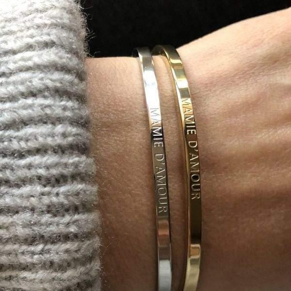Mamie d'amour, Bracelet jonc à message en acier inoxydable