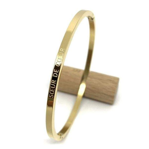 "Bracelet jonc à message ""Soeur de coeur"" en acier inoxydable"