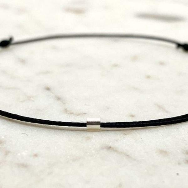 Bracelet cordon fin ajustable tube 2 mm en argent massif